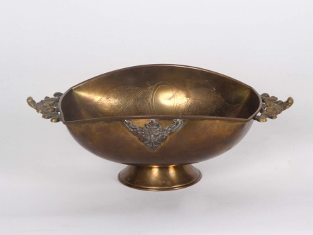 Oval Shaped Chiseled Copper Cup on Pedestal - IB00171