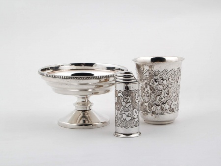 Silver Plated Metal Cup, Beaker and Lighter Holder - IB00226
