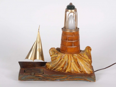 Art Deco Wood and Copper Lamp - IB00315