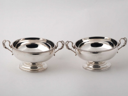 Pair of Silver Plated Metal Cups - IB00444