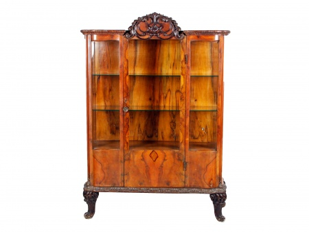 English Edwardian Display Cabinet in Walnut Veneer - IB00530