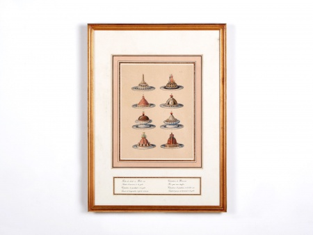 Watercolored Engraving of 18th Century Dishes - IB00572