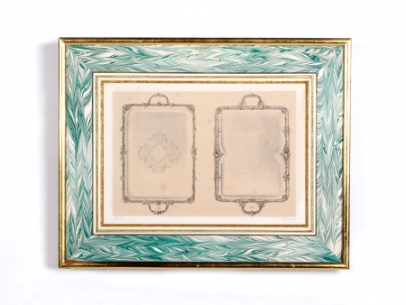 Framed Lithograph of 18th Century Platters - IB00574