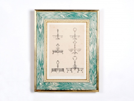 18th Century Oil Decanter Holders Framed Lithograph - IB00575