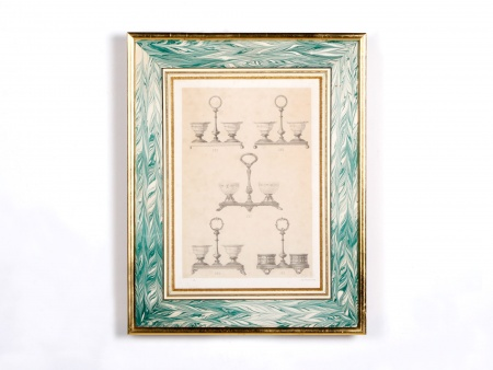 Framed Lithograph of 18th Century Oil Decanter Holders - IB00576