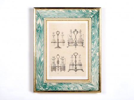 Simeon Framed Lithograph of 18th Century Oil Decanter Holders - IB00578