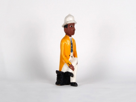 Colonial Statue in Painted Wood - IB00719