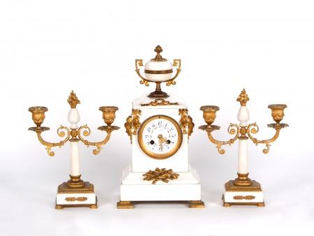 J.Gaujard Mantel Clock With Pair of Candlesticks - IB00730