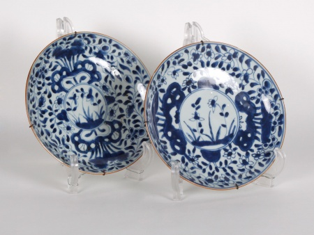 Pair of Hollow Plates in Blue White Porcelain - IB00747