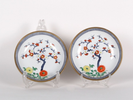 Pair of Chinese Plates in Porcelain and Copper - IB00754