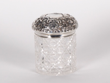 Crystal and Sterling Silver Covered Box - IB00841