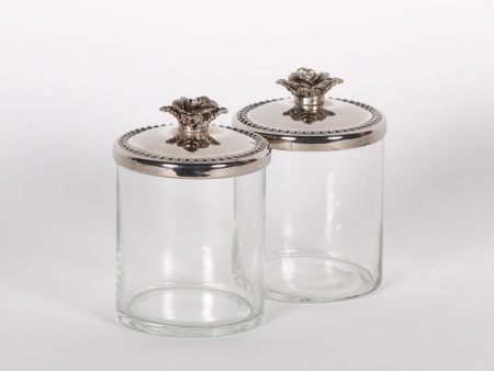Pair of Jam Jars in Glass and Silver Plated Metal - IB00866