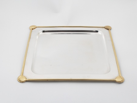 Silver and Gold Plated Metal Platter - IB00906