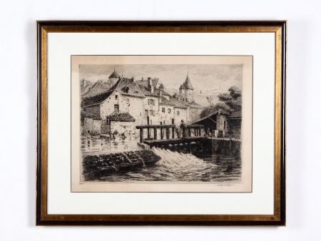 """Large Engraving: """"Les Lavandières"""" - IB00992"""