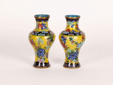 Pair of Cloisonné Enamel Vases - IB01124