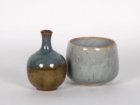 E. Barachant Glazed Ceramic Bud Vase and Bowl - IB01134