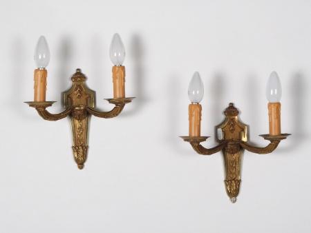 Pair of Louis XVI Style Bronze Bracket Lamps - IB01173