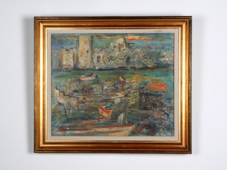 Oil on Canvas: The Saida Harbor - IB01192