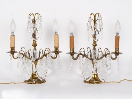 Pair of Gilded Copper and Crystal Girandoles - IB01351