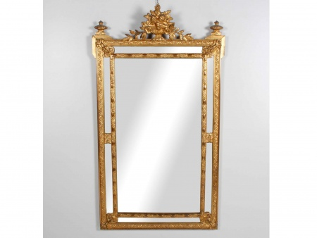 French Mirror Including Gilded with Gold Leaf Beading - IB01372