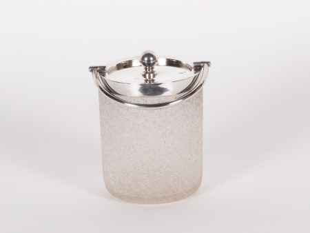 Glass and Sterling Silver Sugar Bowl - IB01420