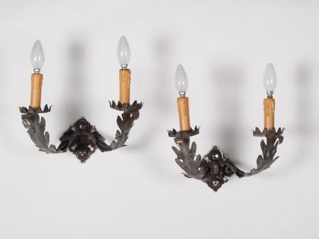 Pair of Bracket Lamps in White Metal - IB01627