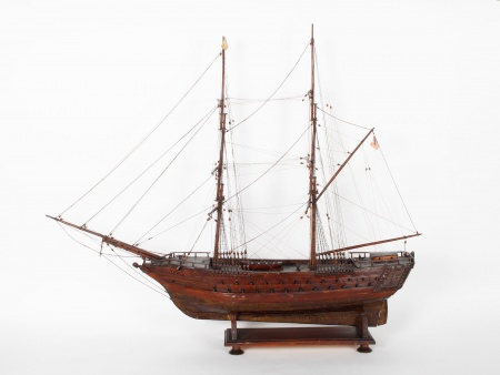 La Didon Large Model of Boat with Masts in Carved Wood - IB01766