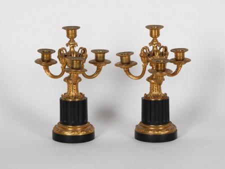 Pair of Napoleon III Bronze Chandeliers - IB01828