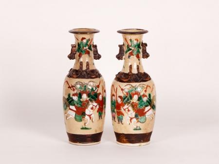 Pair of Porcelain Nanjing Vases. 19th Century - IB01843