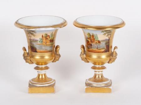 Pair of 19th Century Porcelain Medicis Vases - IB01870