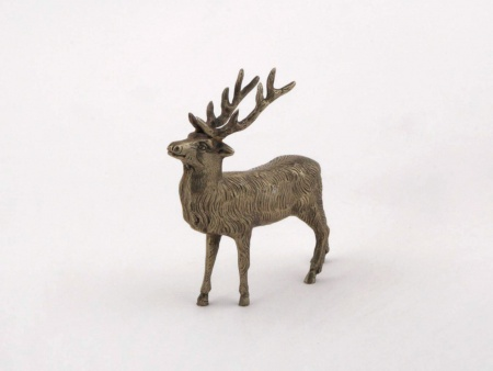 Silver Plated Bronze Small Deer Sculpture - IB01989