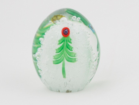 Christmas Egg Shaped Sulphide Paperweight - IB02063