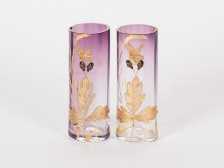 Pair of Small Crystal Bud Vases - IB02147