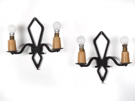 Pair of Art Deco Iron Bracket Lamps - IB02191