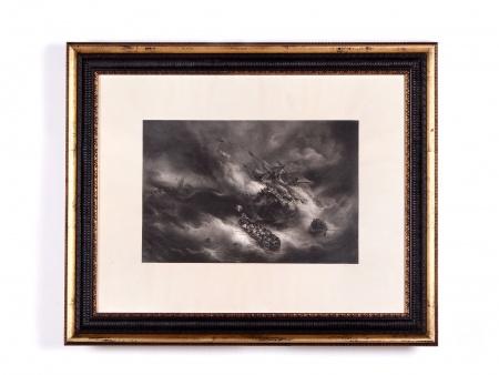"Théodore Gudin. 19th Century Engraving: ""Naufrage"" - IB02345"