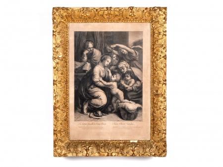 """Raphael. Gravure du 18ème Siècle: """"La Sainte Famille"""" - IB02346"""