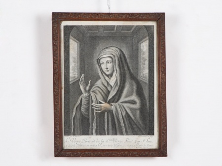 "Pierre Joseph Bazin Engraving ""Le Vrai Portrait de la Sainte Vierge"" - IB02525"