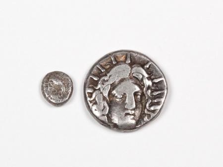Two Greek Silver Coins Rhodes and Obol - IB03438