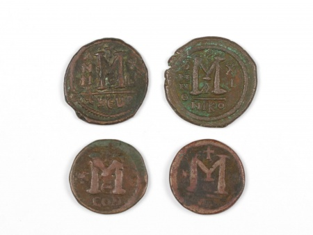 Four Byzantine Bronze Coins. Weight: 41.30 Grs - IB03564