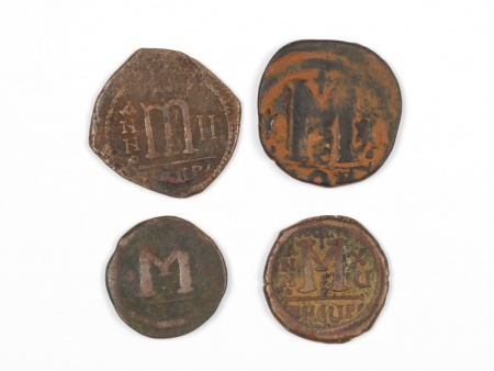 Four Byzantine Bronze Coins. Weight: 45.90 Grs - IB03565