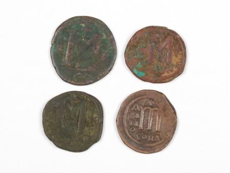 Four Byzantine Bronze Coins. Weight: 59.30 Grs - IB03567