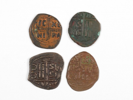 Four Byzantine Bronze Coins. Weight: 38.30 Grs - IB03568