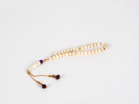 """Masbaha"" in Bone, Gold and Amethyst Stones - IB03596"