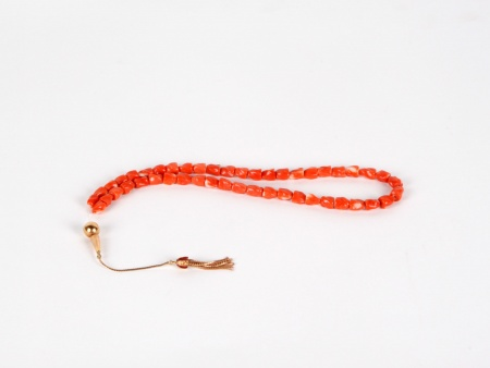 "Red Coral and Solid Gold ""Masbaha"" - IB03597"