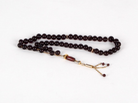 "Antique Rosary ""Masbaha"" in Amethyst Colored Glasse Stones - IB03599"