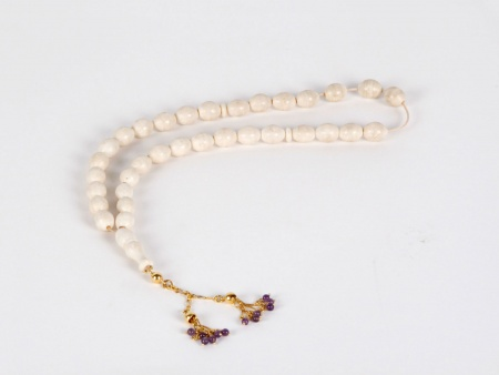 """Masbaha"" in Ivory, Gold and Amethyst Stones - IB03606"
