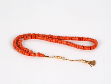 """Masbaha"" in Red Coral and Solid Gold - IB03668"