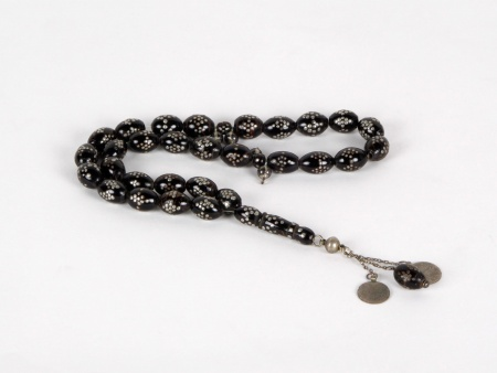 """Masbaha"" in Black Coral and Ottoman Silver Coins - IB03676"