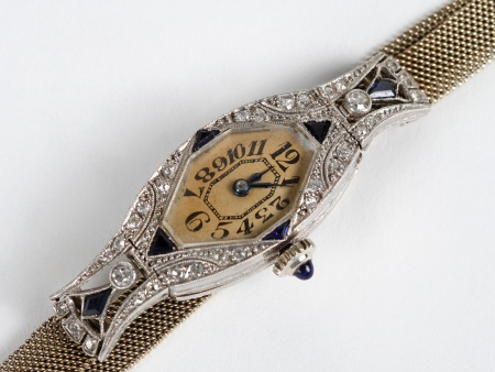 Art Deco Bracelet Watch in Platinum, Diamonds and Sapphires - IB03776