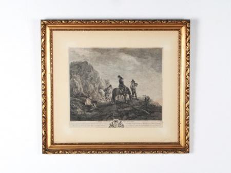 """Engraving by Wouwerman """"Garde Avancée de Hulans"""" - IB03795"""